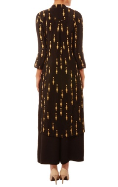 Black & gold tribal print kurta