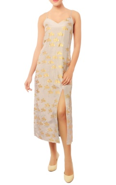 grey front slit dress with gold abstract prints
