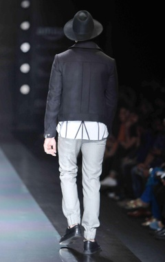 Black jacket with patch pockets