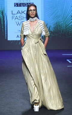 Gold long dress with waist tie up