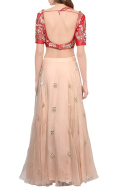 Candy red & blush pink lehenga set