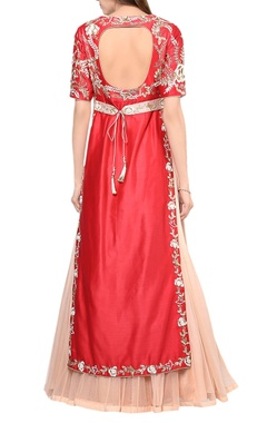 Candy red kurta with lehenga & belt