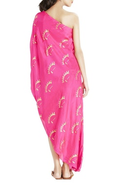 Hot pink one shoulder maxi top