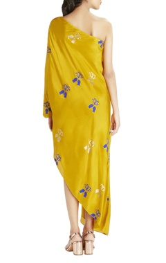 Ochre one shoulder maxi dress