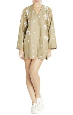beige polka print short dress