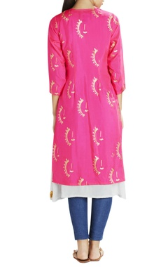 Pink sun printed kurta with grey slip