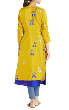 ochre and blue printed kurta