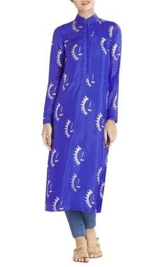 Royal blue long printed kurta