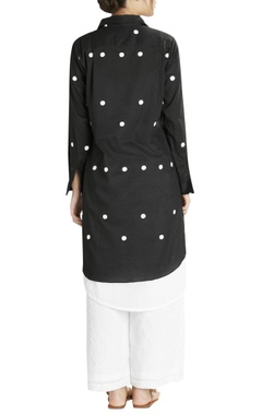 Black & white dotted double layer shirt kurta with white crushed pants