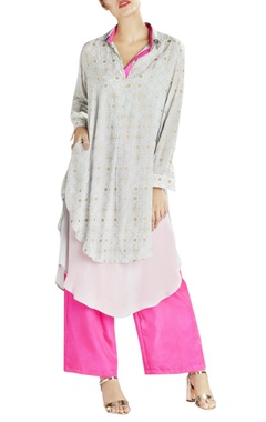 Light grey printed double layered kurta with contrast pants