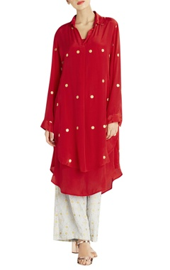 Red dot summer double shirt kurta with slip