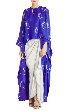 Blue kurta with light grey draped skirt