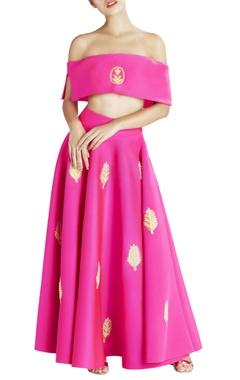 Pink off-shoulder neoprene blouse