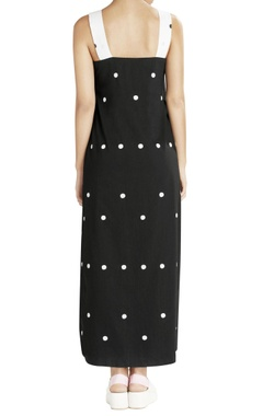 black & white high low dress with dotted prints