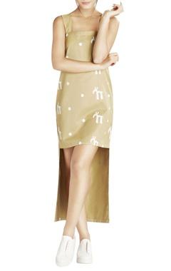khaki script printed high low dress