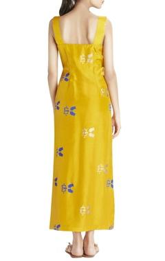 ochre high-low printed dress
