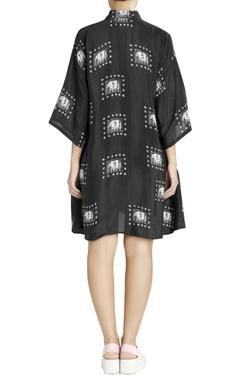 black shirt dress with white elephant prints