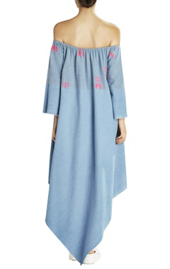 blue & pink asymmetric dress with beach bed prints