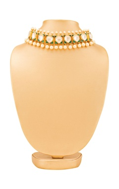 gold plated kundan & pearl choker necklace