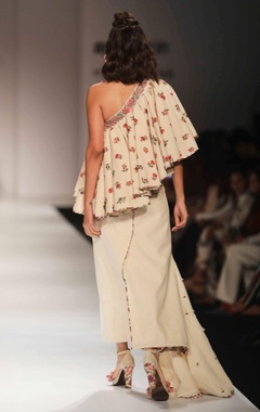 Ivory khadi one shoulder top with wrap skirt