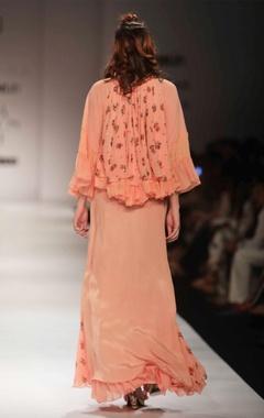 Peach floral print top & maxi skirt