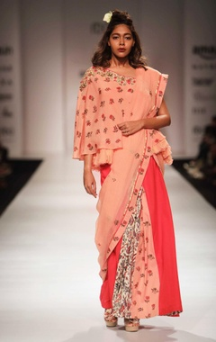 Peach off shoulder top with coral khadi skirt & dupatta