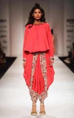 Red khadi top with floral print dhoti pants