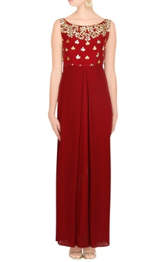 maroon gown with gota patti work