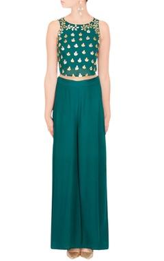 Esha Koul Teal crop top & palazzo pants