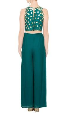 Teal crop top & palazzo pants