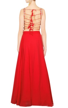 Scarlet red kurta with skirt & dupatta