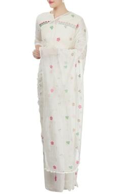 off-white embellished sari