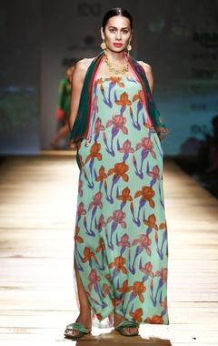 pista green printed tube maxi dress