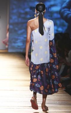Pastel & navy blue one shoulder dress
