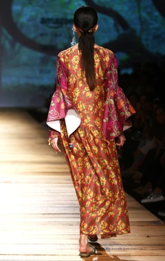 Brown printed maxi dress with bell sleeves