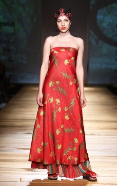 crimson red printed gown