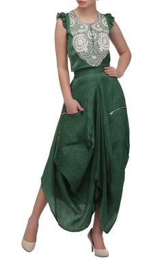 Sage green embroidered crop top & dhoti skirt
