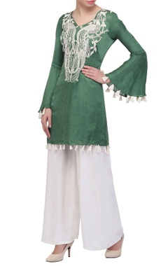 Sage green tunic with bell sleeves