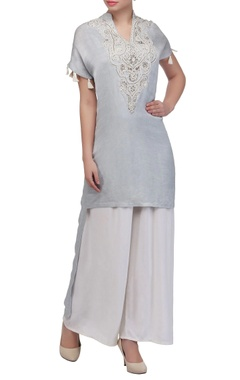 Ice blue high low kurta