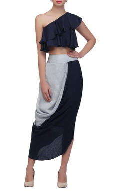 navy blue crop top with frill