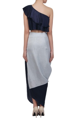 navy & ice blue draped skirt