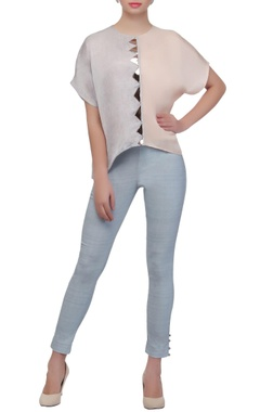 Ice blue & beige color-block top