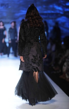 black coat with floral fur applique