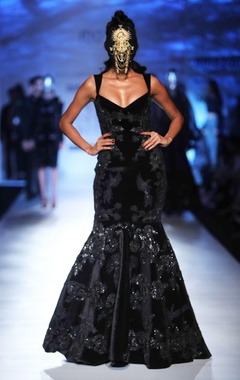 black velvet fishtail gown