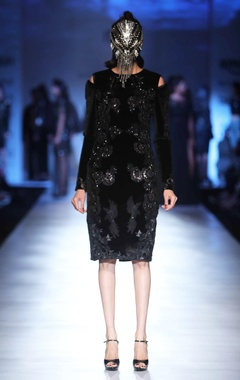 black velvet patchwork dress