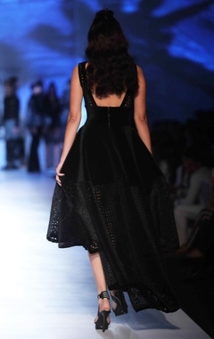 black velvet asymmetric dress