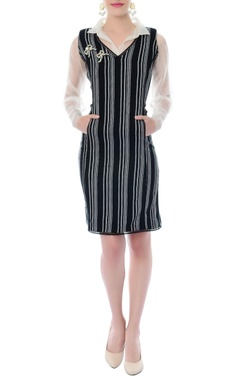 Black & white striped dress with attached shirt