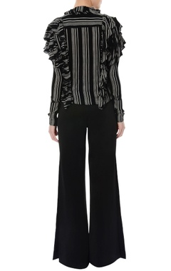 Black & white ruffle top & bell bottom pants