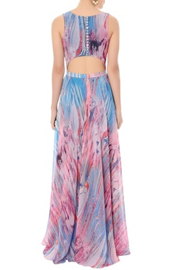 lavender & bougainvillea pink printed maxi dress