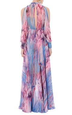 lavender & bougainvillea pink high low maxi dress
